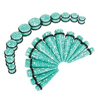 BodyJ4You Gauges Kit Taper Plug Ear Stretching Splatter Green 00G-20mm Body Piercing Set 24 Pieces