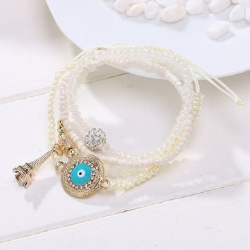 New Summer Style Fashion Ethnic Friendship Bracelet Cahrm Tower Pendant Colorful Beads Bracelets Jewelry For Women  white