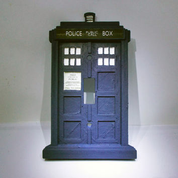 Doctor who tardis light switch plate from rcubedcreations on for Tardis light switch cover