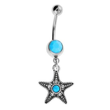 BodyJ4You Belly Button Ring Aqua Blue Starfish Navel Stainless Steel 14G Body Piercing Jewelry