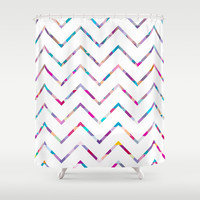 White Zigzag Shower Curtain by Ornaart