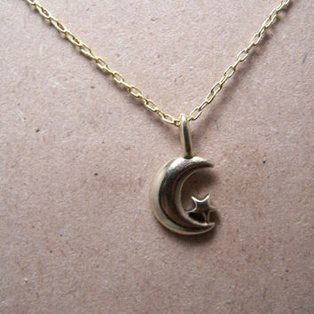 Moon and Star Necklace... Starry Night... In antique Brass