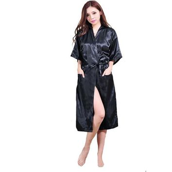Women Bathrobe Kimono Satin Long Robe Sexy Lingerie Nightgown Sleepwear With Belt Plus Size S-XXL Female Clothing