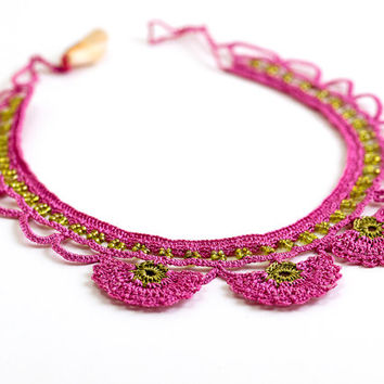 Pink Crochet Lace Statement Necklace Choker Carnation Flower Ottoman Iznik Tile Doily Boho Chic Archeology History