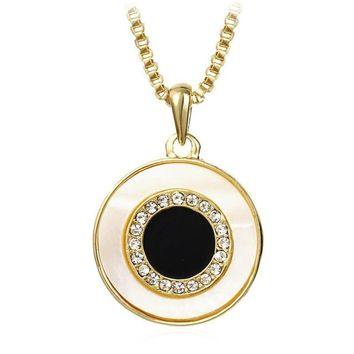 Short Chain  Round Enamel Shell Necklaces & Pendants For Women Jewelry
