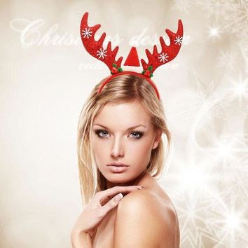 ICIK6HW Christmas Sequin Antlers Head Buckle Headband Hair Accessories Decorations Silent Night Party Supplies
