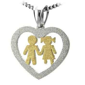 Stainless Steel Cut Out Heart Pendant w/ Gold Boy and Girl Holding Hands