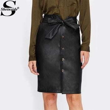 Sheinside Tie Bow Belt Waist Button Up Faux Leather PU Skirt Black Knee Length Elegant Pencil Skirt Women Midi Skirt