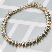 Gold Layered Women Tennis Bracelet, with White Cubic Zirconia, by Folks Jewelry