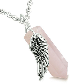 Amulet Angel Wing Magic Wand Crystal Point Rose Quartz Healing Pendant 22 Inch Necklace