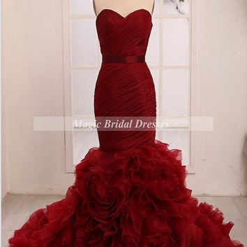 Charming Women Mermaid Prom Dress with Floral Organza Ruffles Attractive Burgundy Evening Dress Adjustable Lace Up Closure Long Mermaid Gown