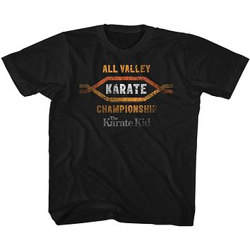 The Karate Kid Toddler T-Shirt Distressed All Valley Karate Champ Black Tee