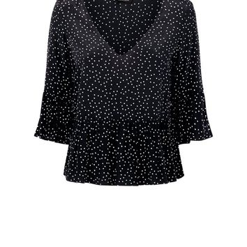 Black Spot Print Peplum Hem Top | New Look