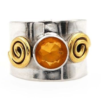Two tone golden citrine band ring size 6.5