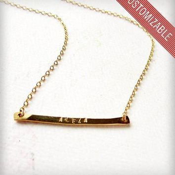Custom Tiny Name Necklace - Gold