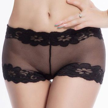OhyeahWomen Sexy Transparent Mesh Boyshorts Temptation Lace Seamless Panties Underwear