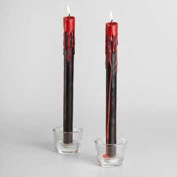 Black Bleeding Taper Candles Set of 2