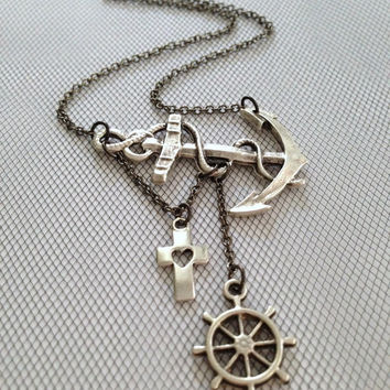 Lost at Sea Necklace by SBC, Silver Plated Anchor, Ship Wheel, Open Heart Cross, Anchor Jewelry, Sideways Anchor, Anchor Cross Necklace