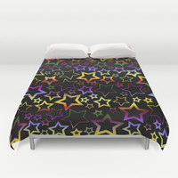 Rainbow and Black Stars Pattern Duvet Cover by Hippy Gift Shop