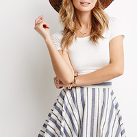 Mixed Stripe Skater Skirt