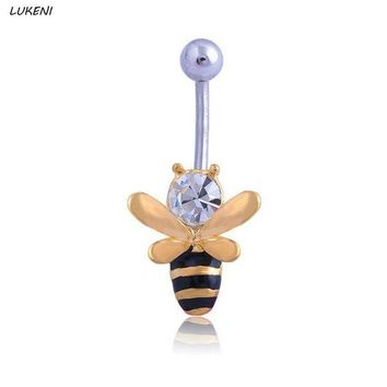 ac DCCKO2Q 1 Pcs Lovely Bee Surgical Steel Rhinestone Navel Belly Button Rings Piercing Jewelry Body Jewelry