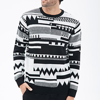 Abstract Geo-Patterned Sweater Black/Cream