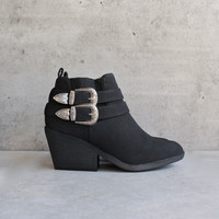 nubuck wedge bootie - black