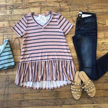 Grayson Striped Peplum Top in Blue and Coral