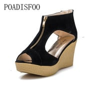 POADISFOO high-heeled Zipper Female Sandals Wedge With loose-bottomed Shoes Thick Bottom Hollow  .XL-588