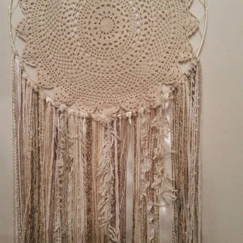 Handmade Cream large Dreamcathcher, Crocheted doily Dreamcatcher