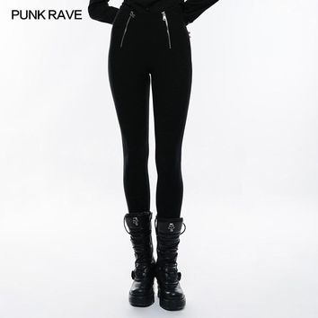 PUNK RAVE Slim Fit Stretch Knitted Breathable High Waist Women's Pants