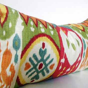 Tribal Pillow Covers, Bohemian Chic Pillows, Ikat Lumbar Throw Pillow, Red, Blue, Green, Orange, and White