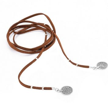 Casual Bohemia Layered Leather Tassels Necklace