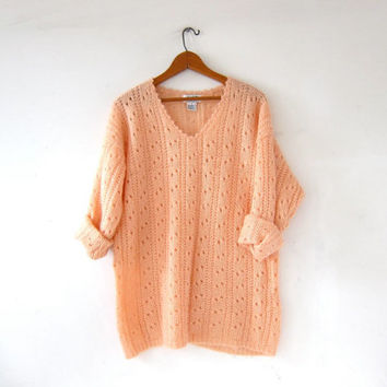 Vintage Oversized Sweater. Loose Knit Sweater. VNeck Mohair Sweater. Boxy Pullover. Peach Sweater.