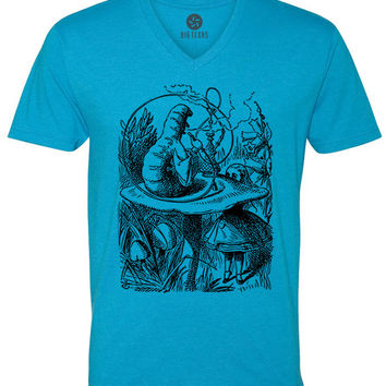 Alice in Wonderland - The Smoking Caterpillar (Black) Short-Sleeve V-Neck T-Shirt