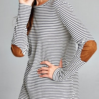 Black & White Striped Top with Elbow Patches
