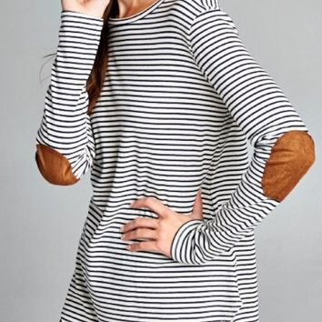 Navy & White Striped Top with Elbow Patches