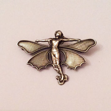 Art Nouveau Butterfly Lady Brooch Pin Silver Vintage Jewelry
