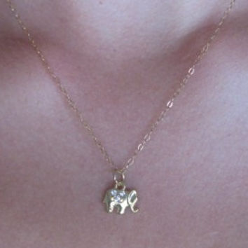 Tiny gold elephant necklace, rhinestone elephant necklace, dainty  elephant necklace, gold elephant necklace, birthday gift, christmas gift