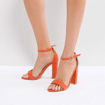 Glamorous Barely There Block Heeled Sandal in Orange at asos.com