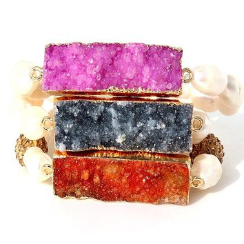 natural crystal pendant &shell bead bracelet gold color raw quartz druzy stone bracelet for women