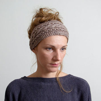 Cable Knitted Headband Ear Warmer Cable knit- Button Closure Ear Warmer or Hair Band.Smoky brown Taupe.