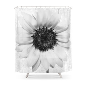 Society6 Black And White Decolorization Sunflower Shower Curtain