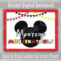 Mystery Mousekatools Printable Sign, Mickey Mouse Clubhouse, Disney Birthday Party, Ears, Red, Yellow, Black, Theme, Download, DIY Letter
