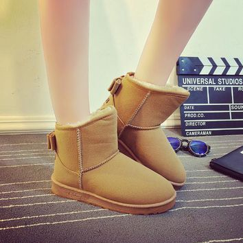 Autumn and winter new bow boots snow boots thick boots