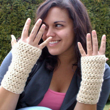 Crochet Fingerless Gloves Organic Cotton by SoLaynaInspirations