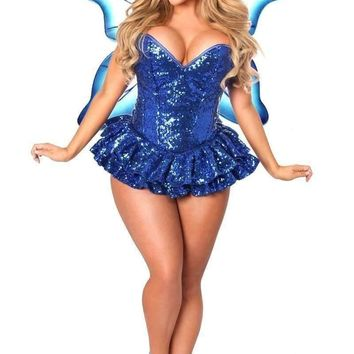 Daisy Top Drawer Premium Sequin Blue Fairy Corset Dress Costume