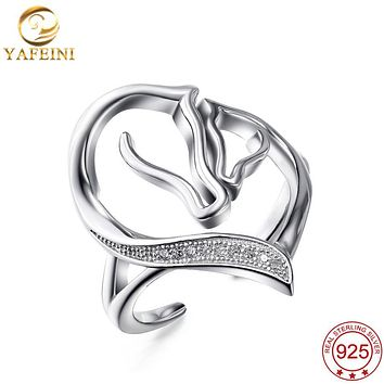 YAFEINI 925 Sterling Silver Jewelry Horse Heart Shape Finger Ring Open Adjustable Ring For Women or Girl GNJ0678