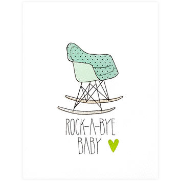 Eames Rocking Chair Green New Baby Card