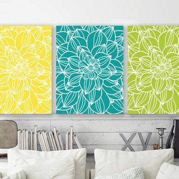 Large Flower Wall Art, Yellow Turquoise Lime Flower Bedroom Wall Pictures, Flower CANVAS or Prints, Flower Bathroom Wall Decor, Set of 3 Art